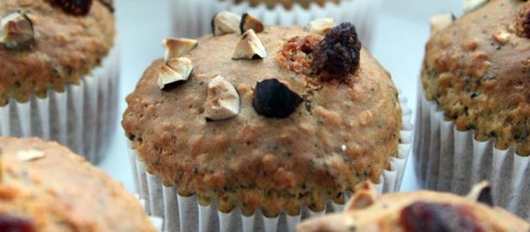 Poppy seed and hazelnut muffins
