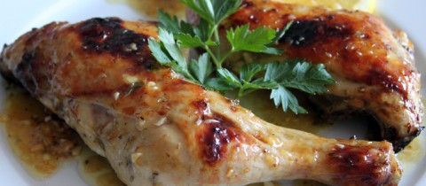 Roasted chicken with rosemary and lemon sauce