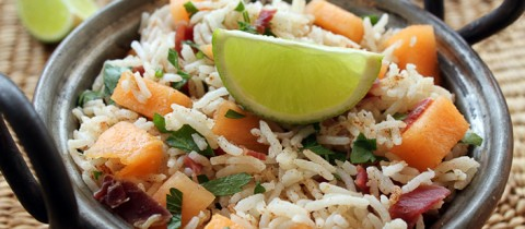 Lime and melon rice salad